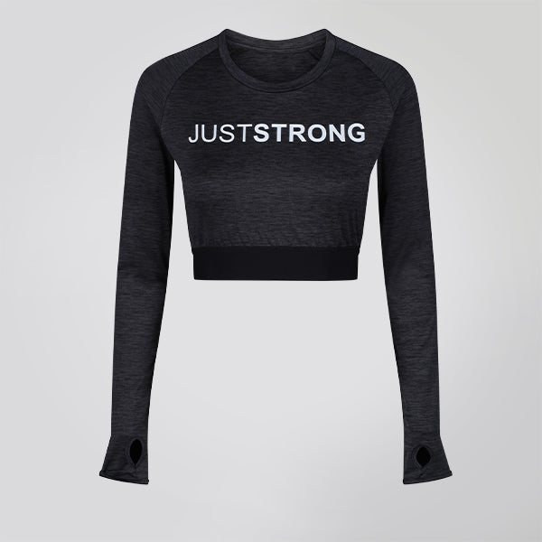 Black / Slate Melange Long Sleeve Crop Top