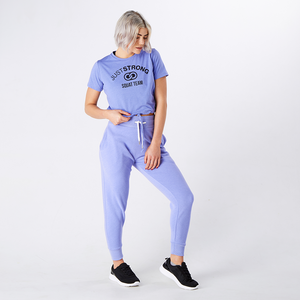 Blue Iris Marl Cropped Team Graphic Tee