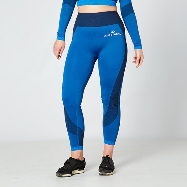 Bright Blue / Navy Seamless Panelled Leggings