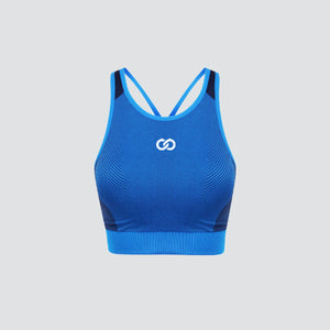 Bright Blue / Navy Seamless Panelled Crop Top