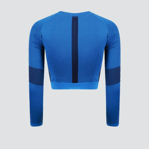 Bright Blue / Navy Seamless Panelled Long Sleeve