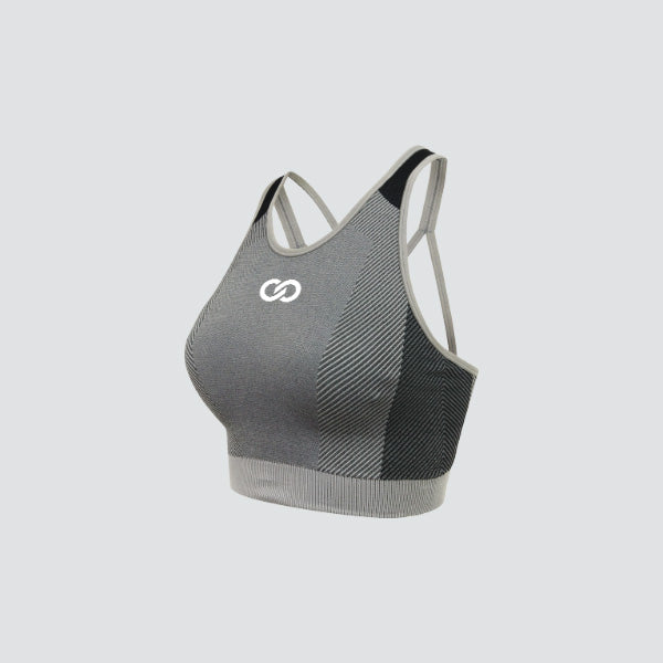 Light Grey / Black Seamless Panelled Crop Top
