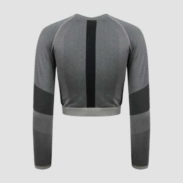 Light Grey / Black Seamless Panelled Long Sleeve