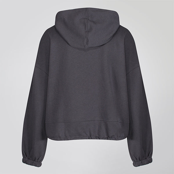 Charcoal Cropped Statement Hoodie