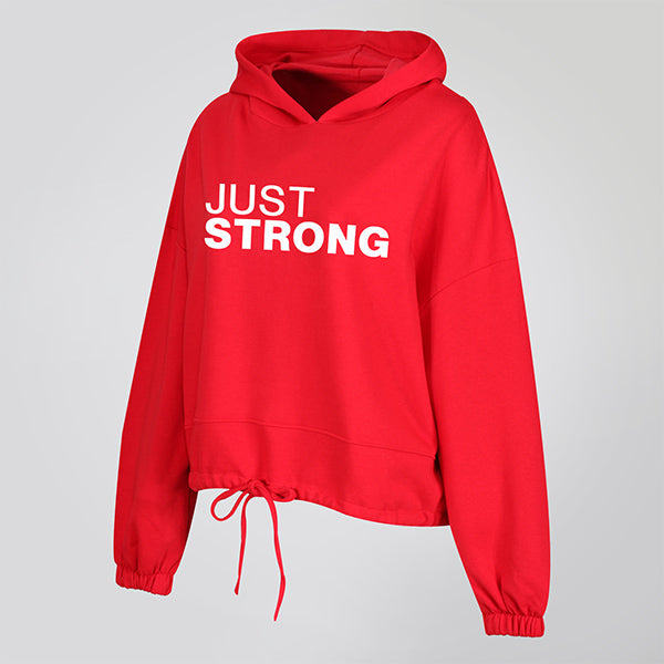 Fire Red Cropped Statement Hoodie
