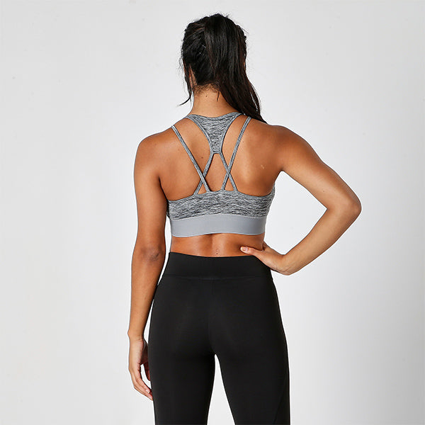 Grey Melange Cross Strap Crop Top