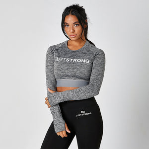 Grey Melange Long Sleeve Crop Top