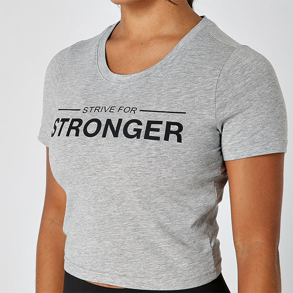 GREY STRIVE FOR STRONGER CROPPED TEE
