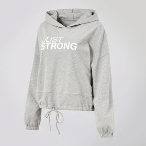 Heather Grey Cropped Statement Hoodie