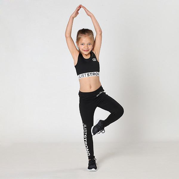 Jet Black Just Strong Kids Leggings