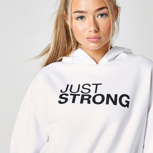Jet White Cropped Statement Hoodie