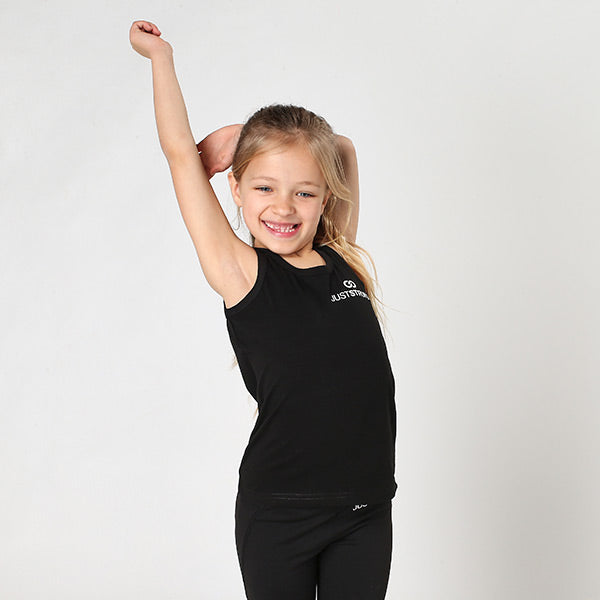 Kids Black Logo Stretch Tank