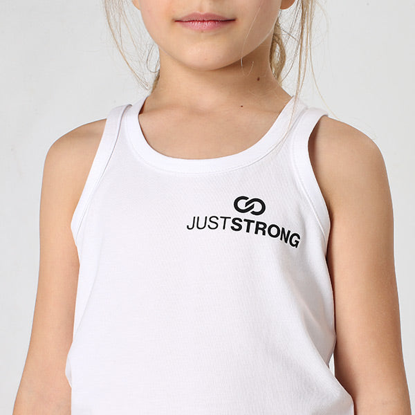 Kids White Logo Stretch Tank