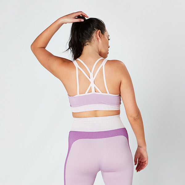 Light Pink / Purple Seamless Panelled Crop Top