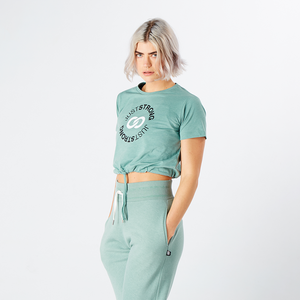 Moss Green Marl Cropped Stamp Graphic Tee