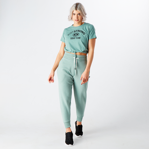 Moss Green Marl Cropped Team Graphic Tee