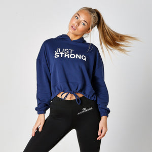 Navy Blue Cropped Statement Hoodie