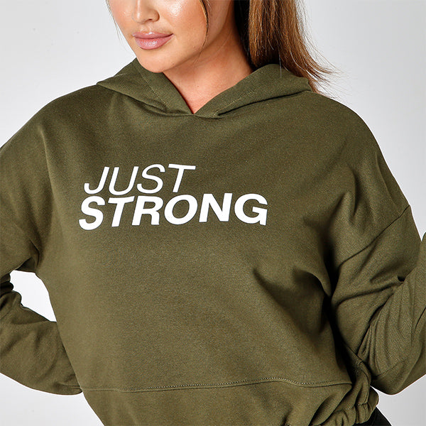 Olive Green Cropped Statement Hoodie