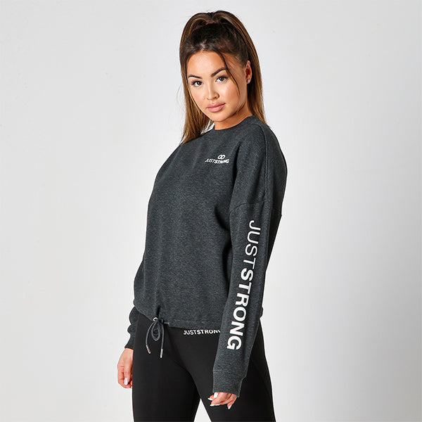 OVERSIZED SIGNATURE CHARCOAL CREW NECK