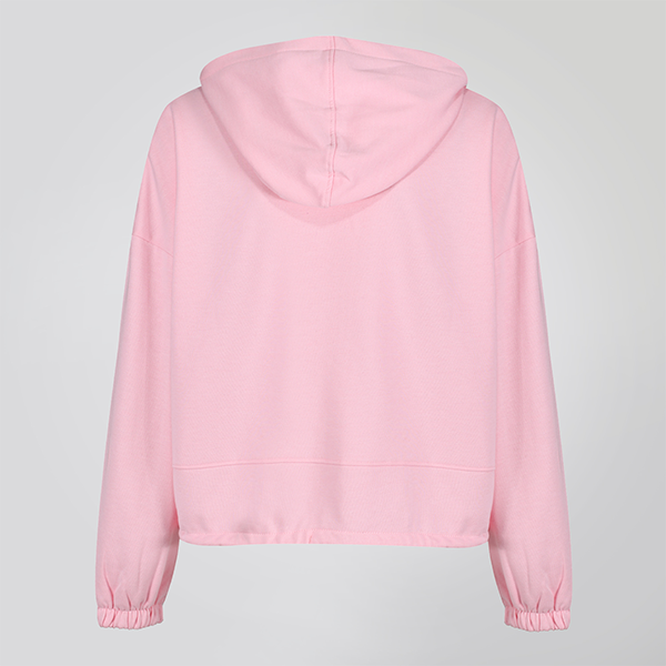 Pink Cropped Statement Hoodie