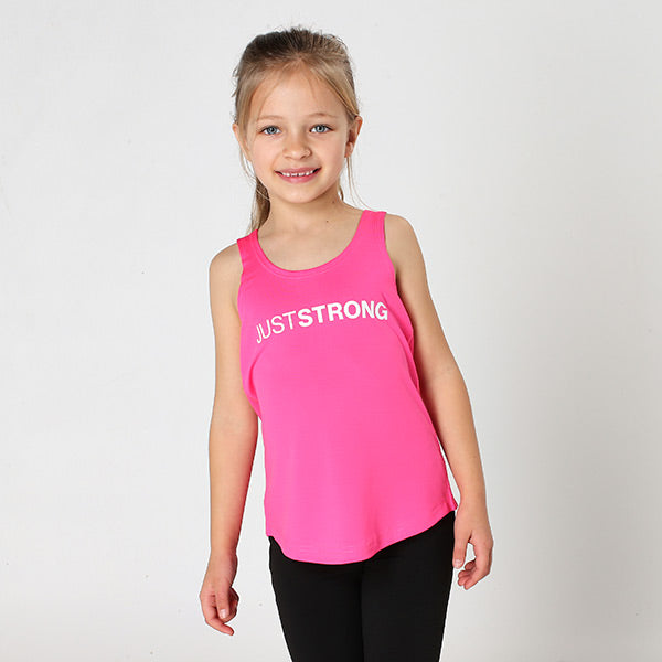 Pink Just Strong Kids Racerback Tank