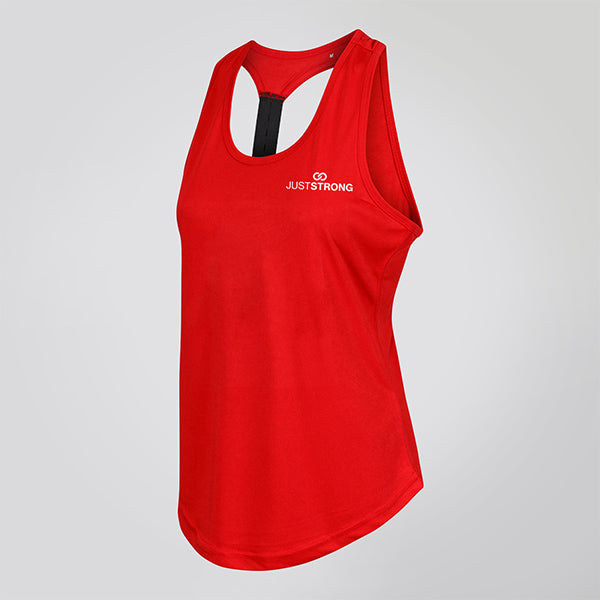 RED STRAPPED RACERBACK TANK