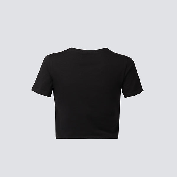 BLACK STRIVE FOR STRONGER CROPPED TEE