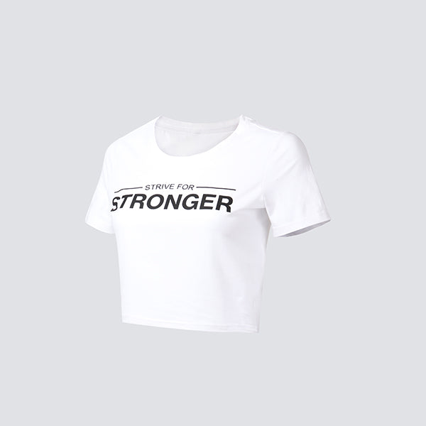 White Strive For Stronger Cropped Tee