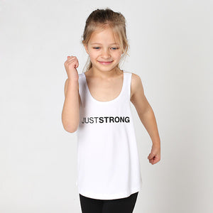 White Just Strong Kids Racerback Tank