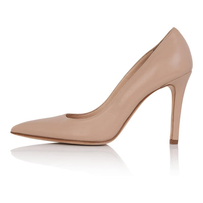 Nude pumps tan skin, nude high heel stiletto, nappa leather, padded insole, skin tone shoes