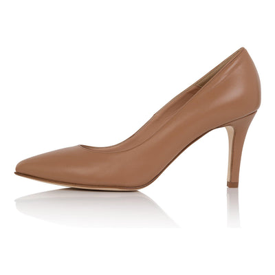 Nude pumps medium skin, low heel stiletto, nappa leather, padded insole, skin tone shoes