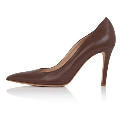 Nude pumps dark skin, high heel stiletto, nappa leather, padded insole, skin tone shoes