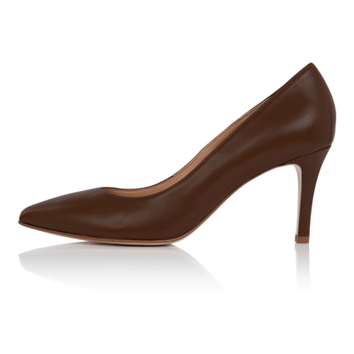 Nude pumps dark skin, low heel stiletto, nappa leather, padded insole, skin tone shoes