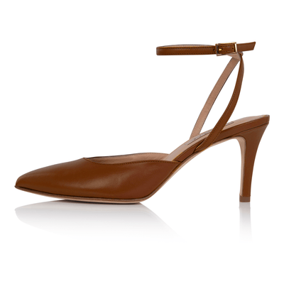 Nude slingback pumps dark skin, low heel stiletto, nappa leather, padded insole, skin tone shoes