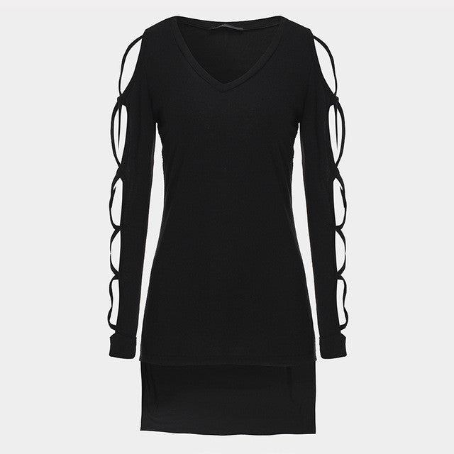 Open Long Sleeve Deep V-Neck Shirt