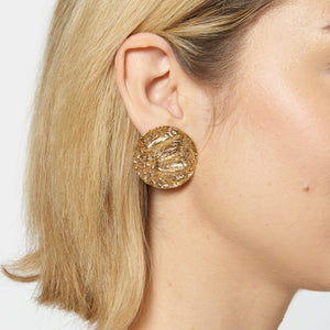 Croc-Embossed Round Earrings - Etienne Aigner