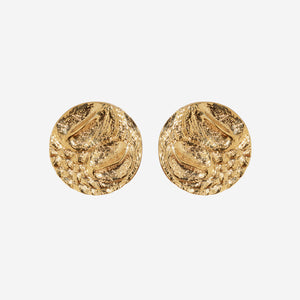 Croc-Embossed Round Earrings