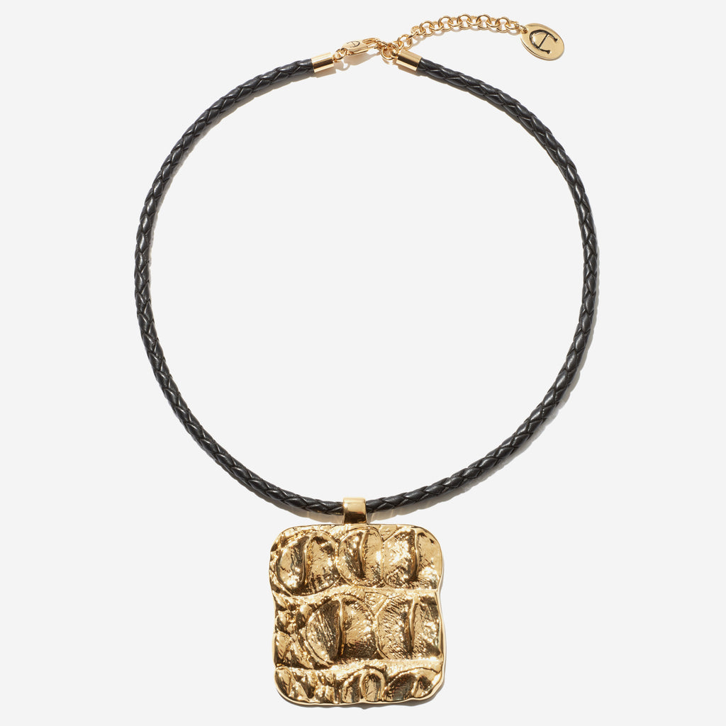Croc-Embossed Pendant Necklace - Etienne Aigner