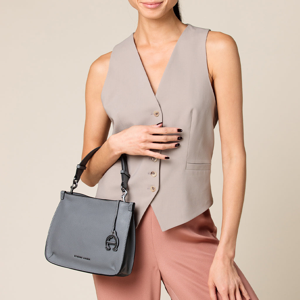 etienne aigner alexandra leather top-handle crossbody in slate grey