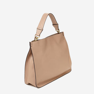 etienne aigner alexandra leather hobo in hazelnut brown