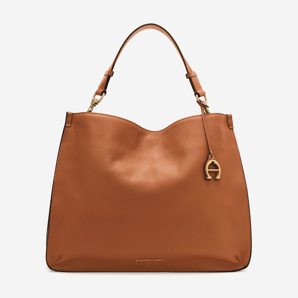 etienne aigner alexandra leather hobo in tobacco brown