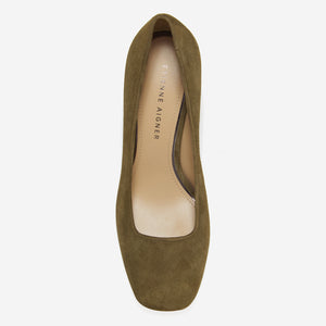 etienne aigner dylan block heel pump in military green