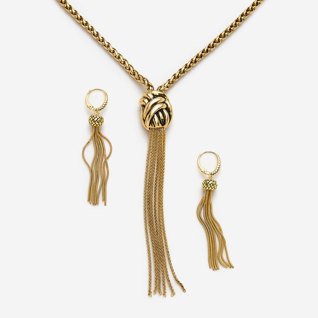 Tassel Necklace Earring Set