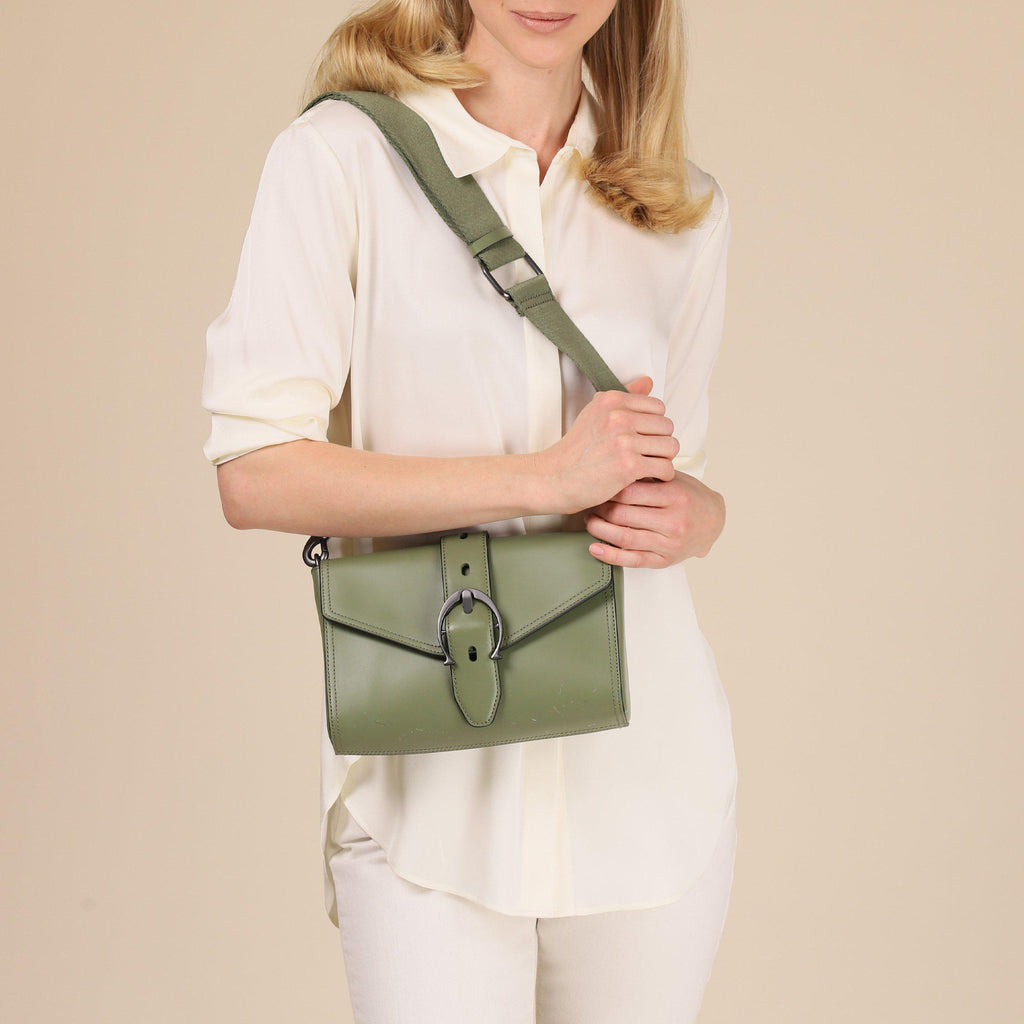 etienne aigner mia structured buckle crossbody in loden green