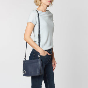 etienne aigner alexandra leather top-handle crossbody in navy blue
