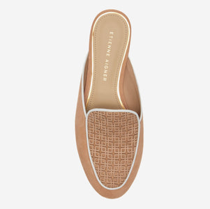 etienne aigner cayman flat mule in fawn beige suede with  geometric patterned vachetta vamp and white pipping