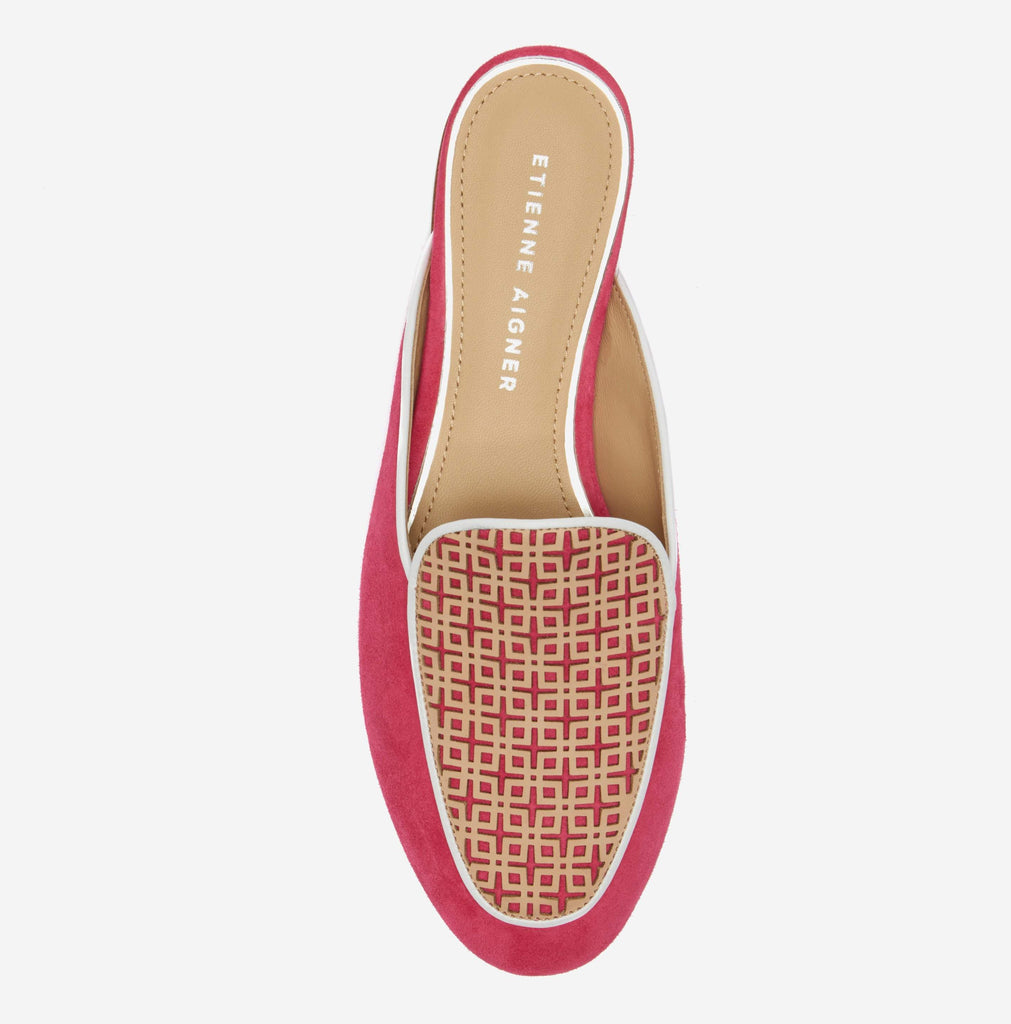 etienne aigner cayman flat mule in peony pink suede with  geometric patterned vachetta vamp and white pipping