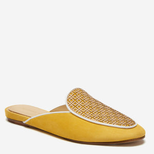 etienne aigner cayman flat mule in suburst yellow suede with  geometric patterned vachetta vamp and white pipping