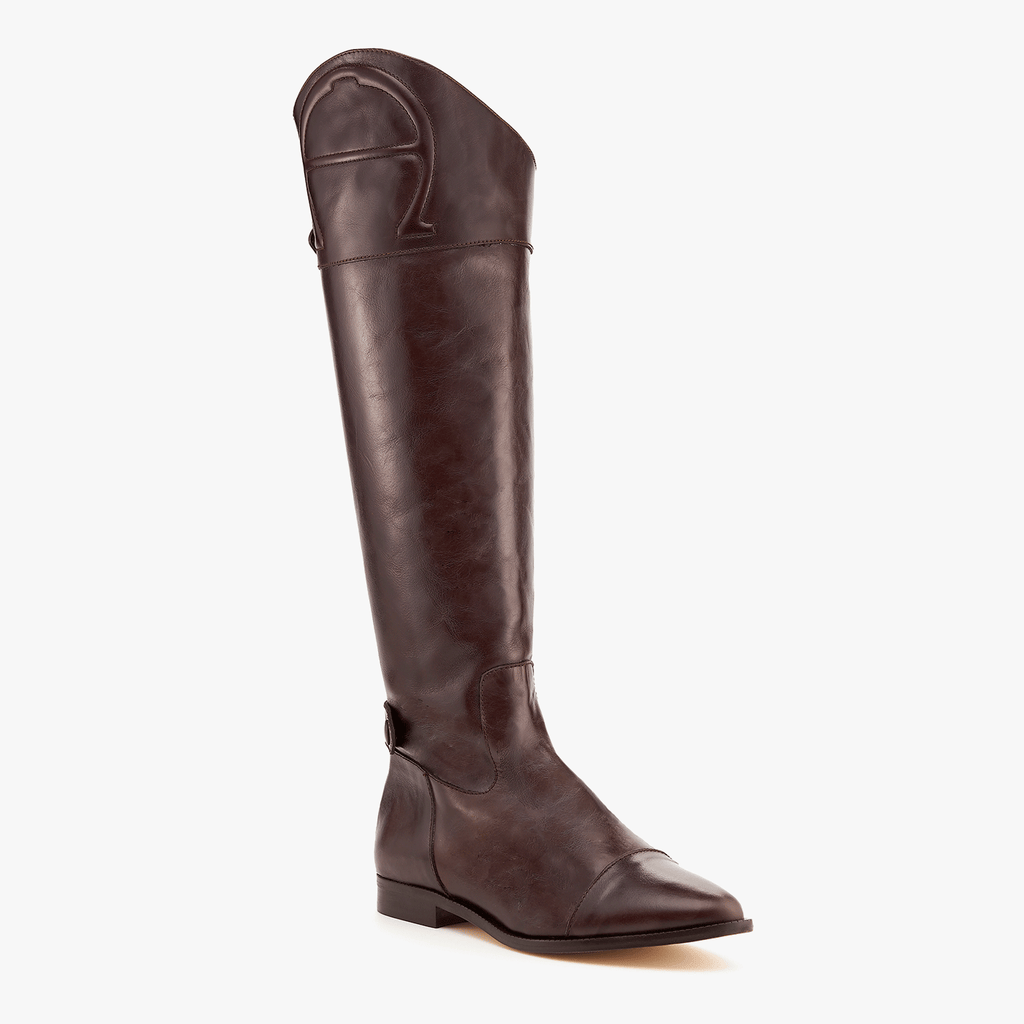 etienne aigner over the knee ryder leather equatrian boot in espresso brown image 1