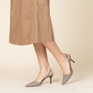 etienne aigner lillia pointed slingback heel in cement grey snake cut leather